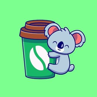 Desenho animado da xícara de café com coala abraço