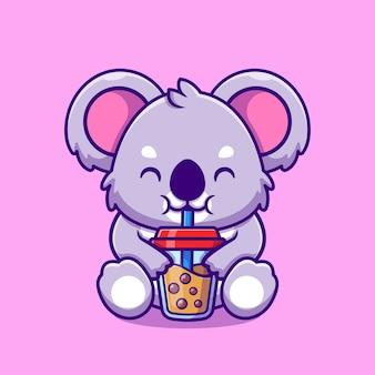 Desenho animado da xícara de chá com bolha de coala bonito coala