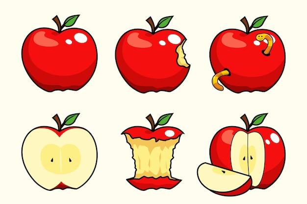 Desenho animado das coleções de frutas maçã