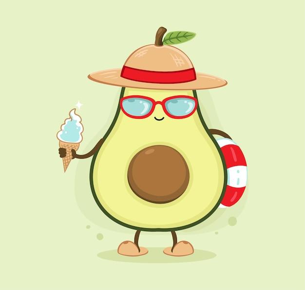 Desenho animado de abacate de verão feliz