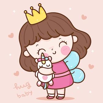 Desenho animado de anjo fofo princesa abraça boneca unicórnio personagem kawaii