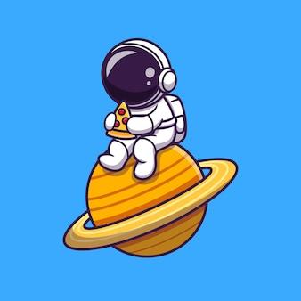 Desenho animado de astronauta fofo comendo pizza no planeta