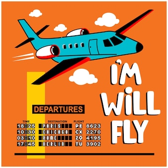 Desenho animado de avião no céu