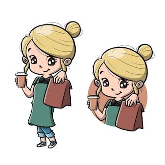Desenho animado de barista fofa