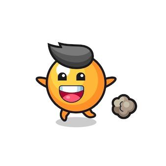 Desenho animado de bola de pingue-pongue feliz com pose de corrida