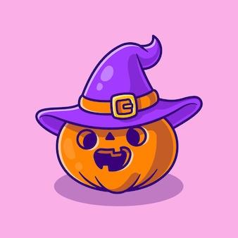 Desenho animado de bruxa com abóbora fofa