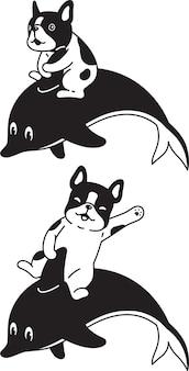 Desenho animado de buldogue francês cavalgando golfinho