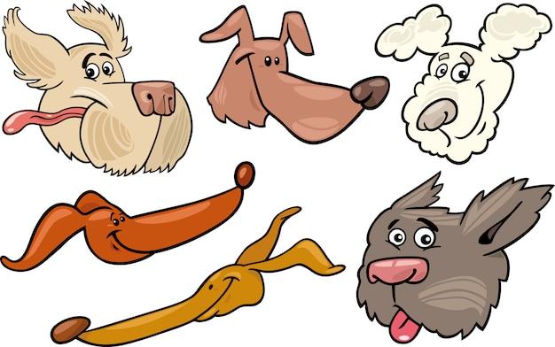 Desenho animado de cabeças de cães felizes