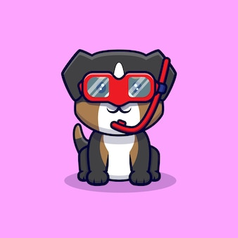 Desenho animado de cão pastor australiano fofo usando óculos de natação