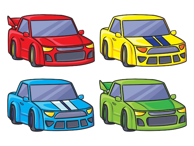 Desenho animado de carros de corrida