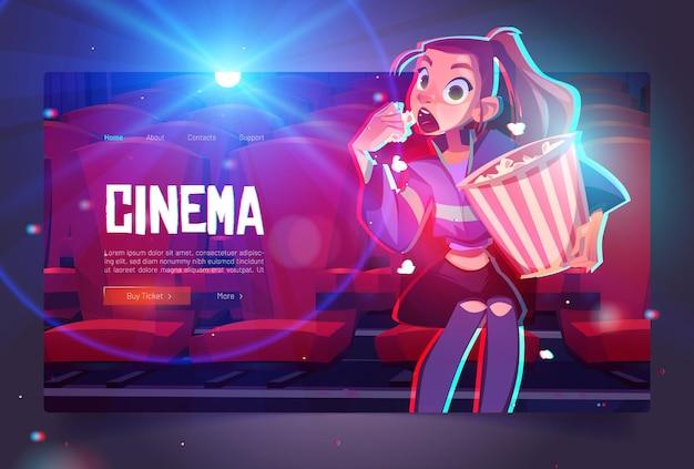 Desenho animado de cinema web banner jovem hipnotizada com balde de pipoca sentada no cinema