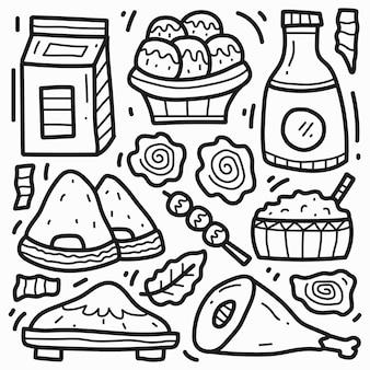 Desenho animado de comida japonesa desenhado à mão