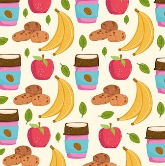 Desenho animado de comida saudável