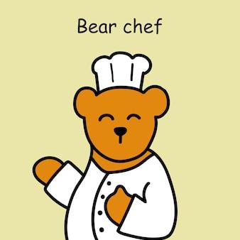 Desenho animado de cozinha de urso desenhado à mão