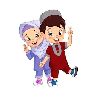 Desenho animado de criança muçulmana feliz com o símbolo da paz