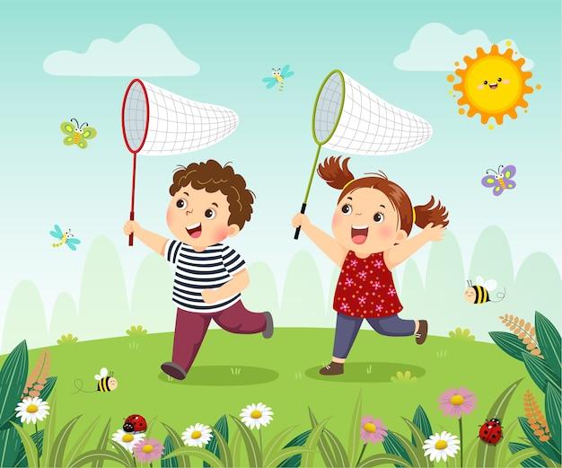 Desenho animado de crianças felizes, pegando insetos no campo.