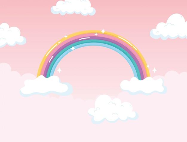 Desenho animado de decoração de fantasia mágica com arco-íris brilhante