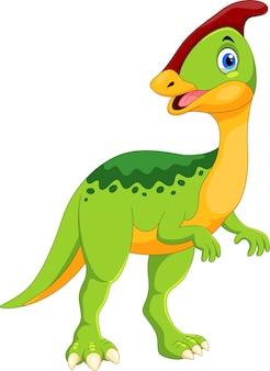 Desenho animado de dinossauro parasaurolophus fofo