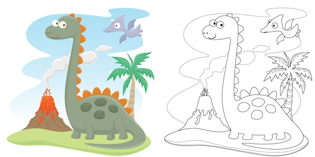Desenho animado de dinossauros com erupção do vulcão