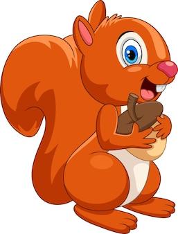 Desenho animado de esquilo feliz