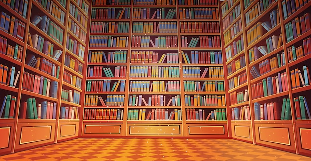 Desenho animado de estantes de livros