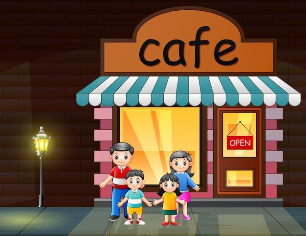 Desenho animado de família feliz em frente ao café