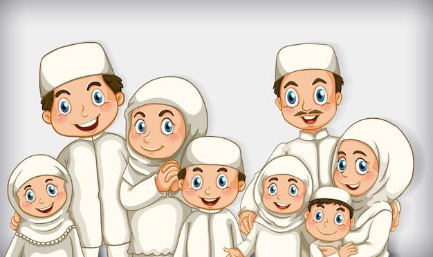 Desenho animado de família muçulmana