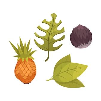 Desenho animado de frutas tropicais e folhas verdes isoladas em branco