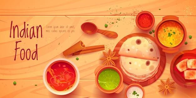Desenho animado de fundo de comida indiana