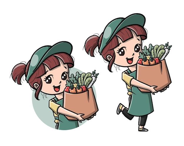 Desenho animado de garota fofa entregando vegetais