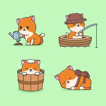 Desenho animado de gato com atividade de primavera