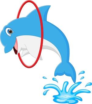 Desenho animado de golfinho pulando e entrando no ringue