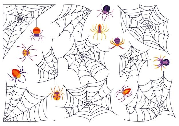 Desenho animado de halloween de teia de aranha e aranha conjunto assustador assustador de aranhas decoração perigosa de teia de aranha