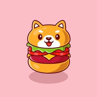 Desenho animado de hambúrguer de cachorro bonito de shiba inu