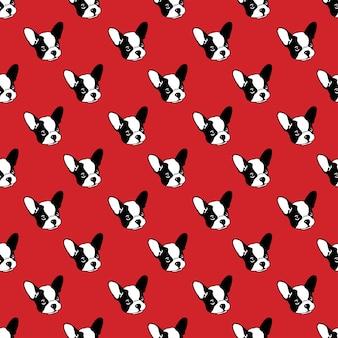 Desenho animado de ilustração de cachorro bulldog francês sem costura padrão