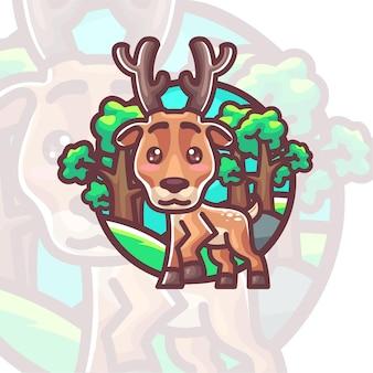 Desenho animado de ilustração de cervo fofo
