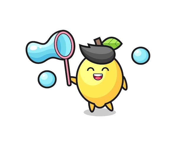 Desenho animado de limão feliz jogando bolha de sabão, design de estilo fofo para camiseta, adesivo, elemento de logotipo