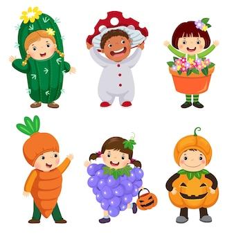 Desenho animado de lindos filhos em trajes de planta definido. roupas de carnaval para crianças.