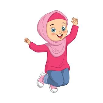 Desenho animado de menina muçulmana feliz em fundo branco