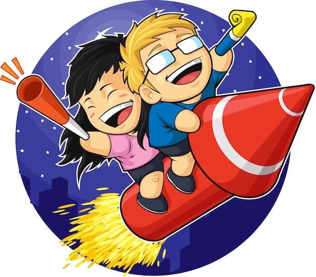 Desenho animado de menino e menina cavalgando fogo de artifício de ano novo