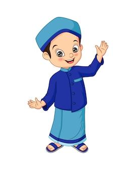 Desenho animado de menino muçulmano feliz isolado