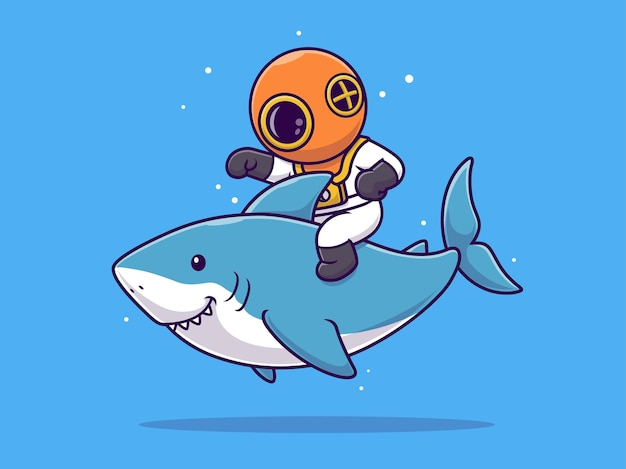 Desenho animado de mergulhador fofo cavalgando um tubarão e acenando com a mão
