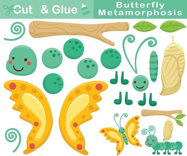 Desenho animado de metamorfose de borboleta. jogo de papel de educação para crianças. recorte e colagem