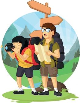 Desenho animado de mochileiro menino & menina curtindo férias