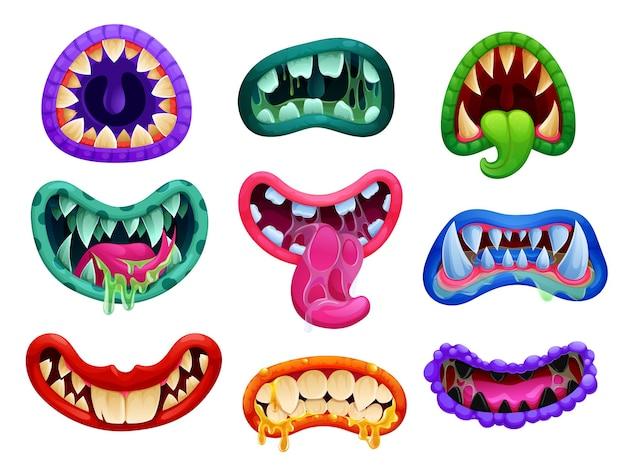 Desenho animado de monstro de halloween mandíbula com dentes