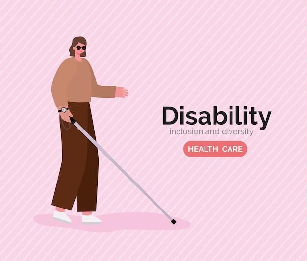Desenho animado de mulher cega com deficiência com óculos e bengala com o tema diversidade de inclusão e cuidados de saúde.