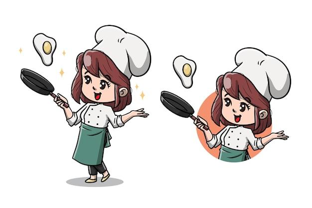 Desenho animado de mulher chef fofo