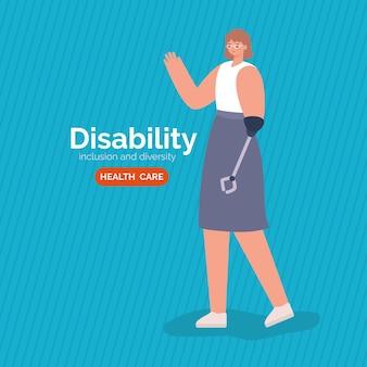 Desenho animado de mulher com deficiência com prótese de braço do tema diversidade de inclusão e cuidados de saúde.