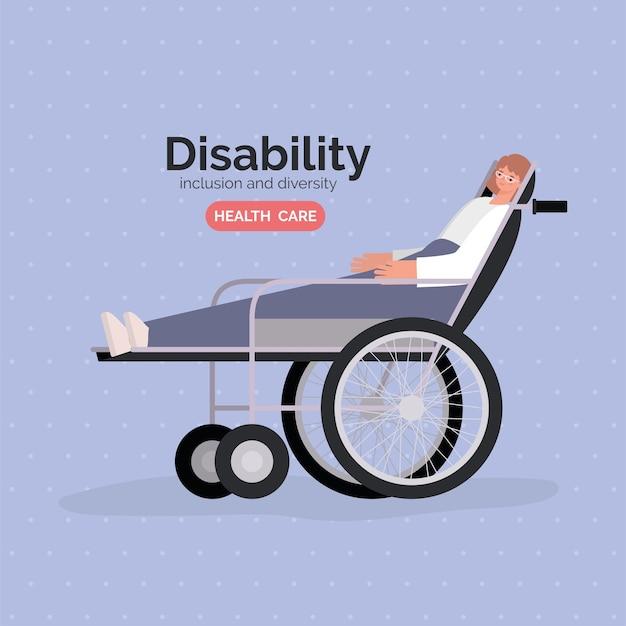 Desenho animado de mulher com deficiência em cadeira de rodas com o tema diversidade de inclusão e cuidados de saúde.