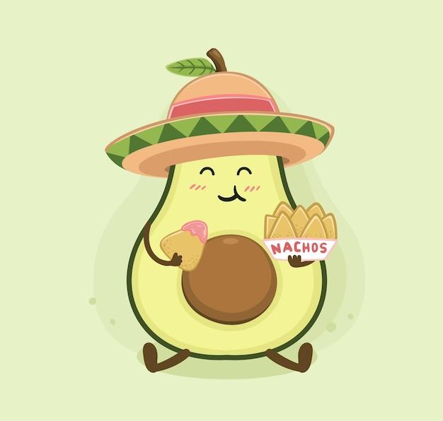 Desenho animado de nachos de abacate
